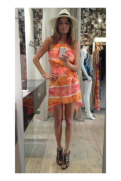 """""""Packing for Watego's at Byron Bay!!! Wearing genuine Panama straw wide-brimmed fedora, Little Joe Woman silk tie-dye backless dress, Amber Skeats ring and black Terry Biviano heels."""""""