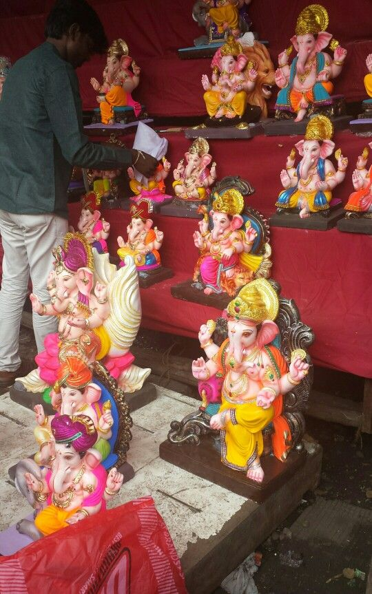 Ganesh idols on display - Pune, India