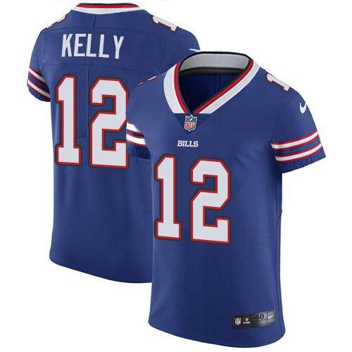 new concept 99cd8 4004b Nike Bills  12 Jim Kelly Royal Blue Team Color Men s Stitched NFL Vapor  Untouchable Elite