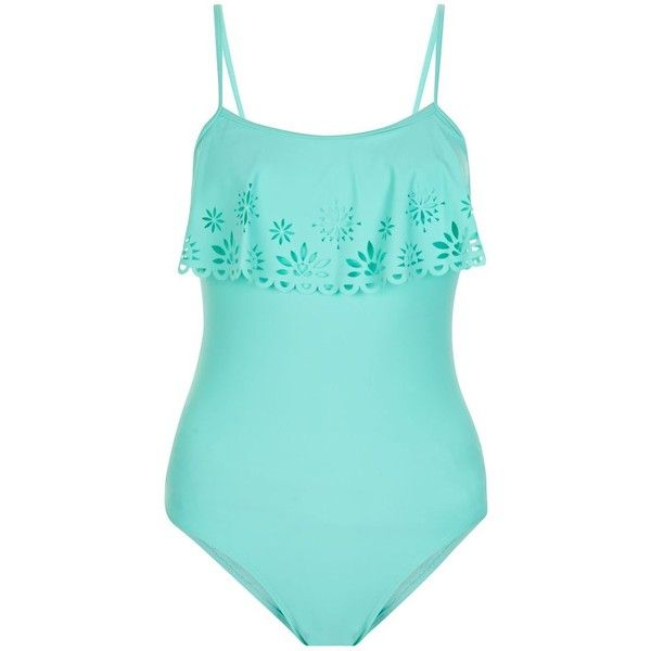 Teens Mint Green Lazer Cut Out Flounce Swimsuit ($18) ❤ liked on Polyvore featuring swimwear, one-piece swimsuits, ruffle swimsuit, flounce bathing suits, flounce swimsuit, ruffle bathing suit and mint green bathing suit