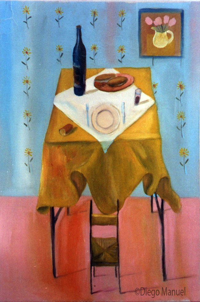silla hobbit. Painting of the Serie Still Life for sale by artist Diego Manuel. Cuadro en venta de la Serie Naturaleza Muerta