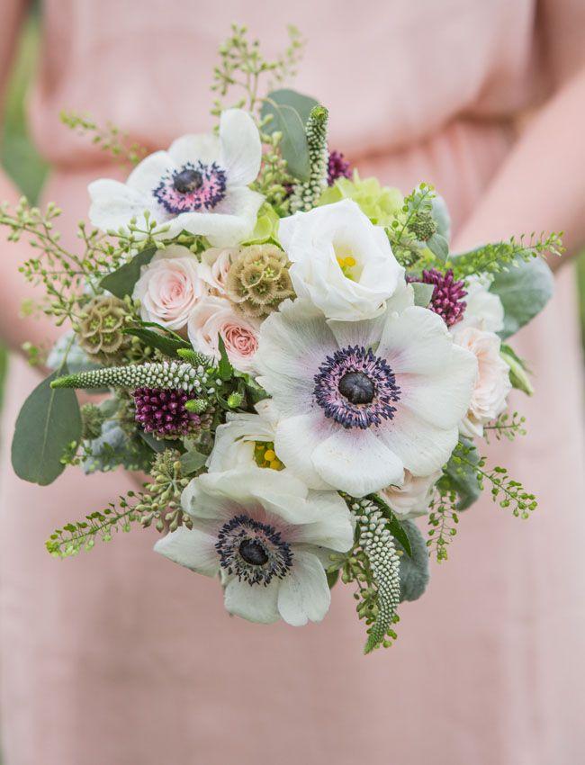 anemone + veronica bouquet