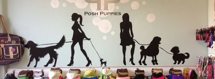 Love the idea of putting dog silhouette designs on the walls.