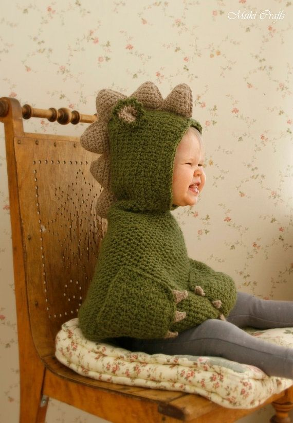 Sale! CROCHET PATTERN dragon dinosaur poncho Nikki with pockets and spikes (baby/toddler/child sizes)