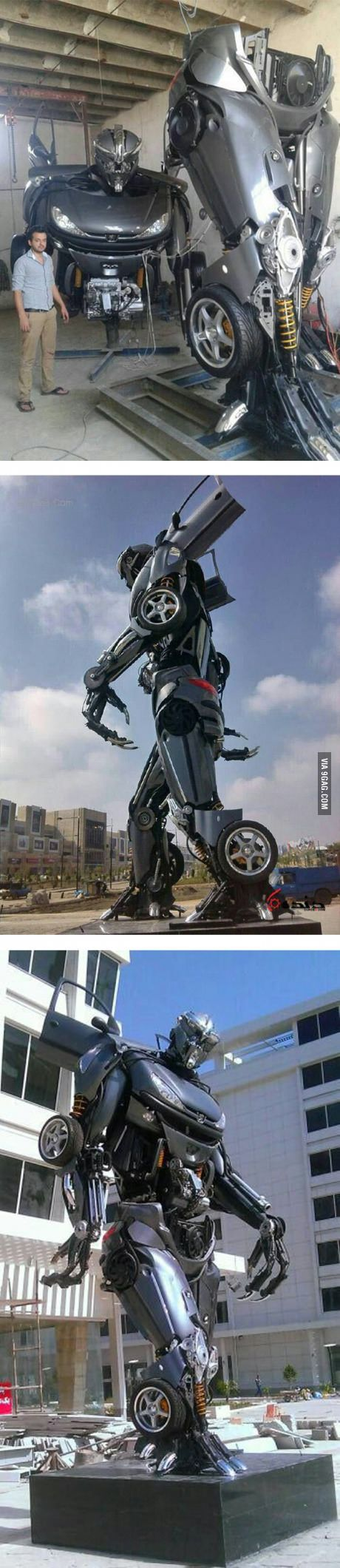 Iranian Transformer Statue Made From Scrap Car Parts.