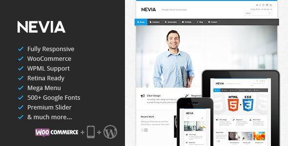 Nevia is a premium Responsive Multi-Purpose WordPress theme created for corporate and portfolio websites with support for WooCommerce. It features a very clean, responsive design that is perfect for creating professional image of your company. It's easy to customize with awesome features like LayerSlider, OptionsTree panel for settings and WordPress Customizer. It's also Retina ready, has plenty of easy to use shortcodes and tools (like MegaMenu!), and is compa...
