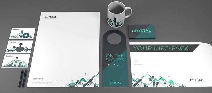 Great applications of the new Crystal Ski Holidays branding. The utilization of color and illustration really tie each piece together to support a simple logo.