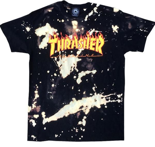 c85476e6a21f Classic Thrasher Mag Flame logo tee shirt with custom bleach application  front and back. Individually bleached by hand. No two shirts are exactly  alike.