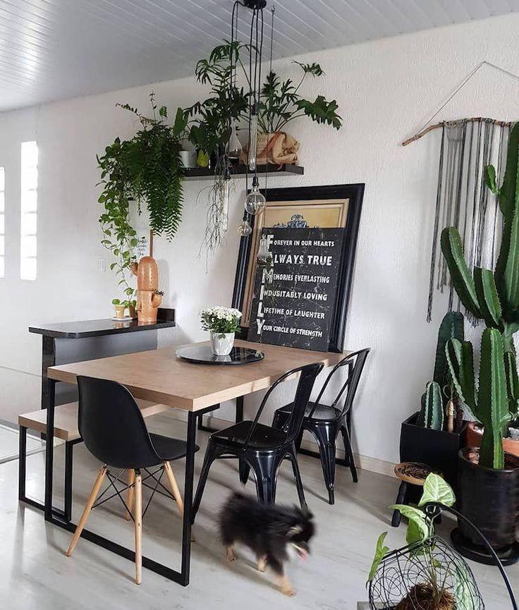 Sala de jantar: 100 designs encantadores para se inspirar   – cadeiras e banco combinação