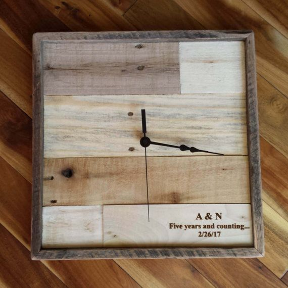 Personalized Anniversary Clock Rustic Home Decor by RayMels