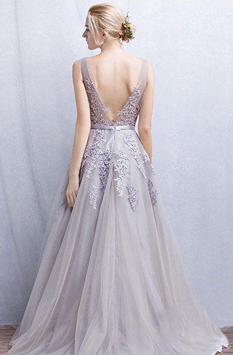 EnjoyBridal® A-Linie Lang Spitze Tüll Rückenfrei Abendkleid Ballkleid Hochzeit Brautjungfernkleid mit Träger Marineblau 32