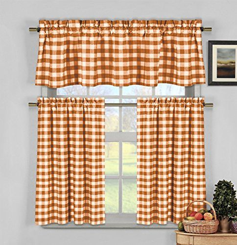 Park Avenue Collection Kingston Checks Kitchen Curtain 3Pc Set /Orange