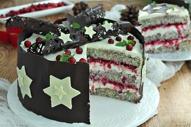 wesoła kuchnia: Makowy tort z żurawiną pod gwiazdami