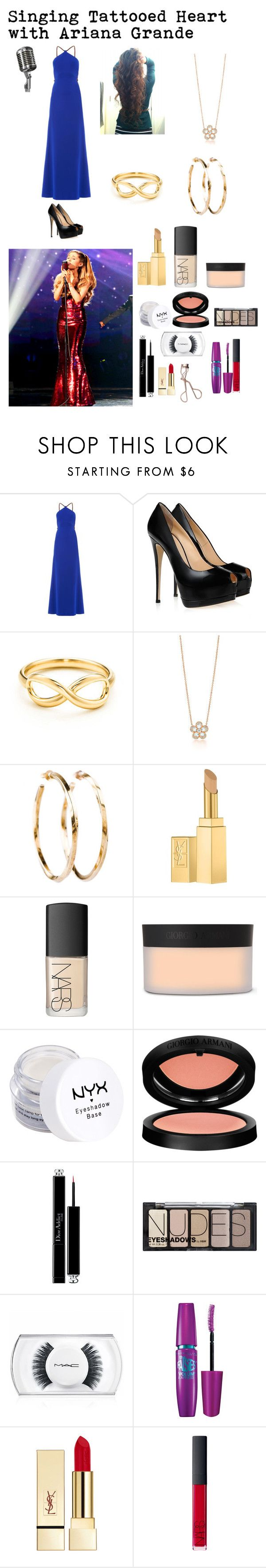 """Singing Tattooed Heart with Ariana Grande"" by famouslife13 ❤ liked on Polyvore featuring Diane Von Furstenberg, Giuseppe Zanotti, Tiffany & Co., Yves Saint Laurent, NARS Cosmetics, Giorgio Armani, NYX, Christian Dior, H&M and MAC Cosmetics"