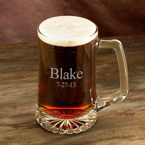 Groomsmen Gift - Engraved 25oz Sports Mug - Personalized Beer Mug (117)