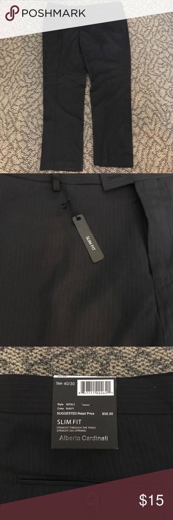 Alberto Cardinali Slim Fit Dress Pants 40/30 Alberto cardinali slim fit dress pants size 40/30 color navy. New. Color is navy and they are stripped alberto cardinali Pants Dress