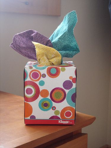 The BCW Lady says: About the time babies sit up, they begin truly enjoying pulling things out of things.  Here's an Almost Bagless idea for that stage.  Cover a tissue box and stuff it with clean squares of fabric. Make sure the squares stick out the top of the box so baby can grab them easily.