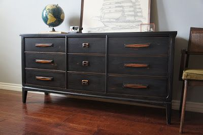 European Paint Finishes: mid-century graphite distressed dresser. retro modern mcm industrial painted furniture chippy vintage boys nursery