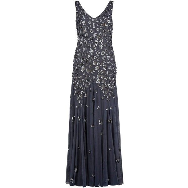 Gina Bacconi Block Sequin Maxi Dress, Grey (€190) ❤ liked on Polyvore featuring dresses, gowns, evening dresses, evening gowns, women plus size dresses, midi evening dresses and plus size dresses