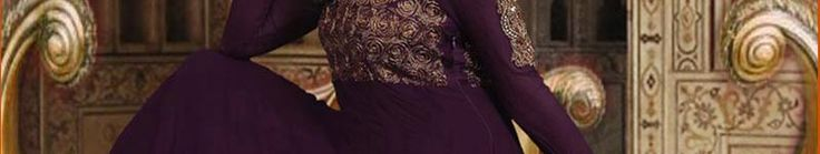 Dark Purple Pure Georgette and Brocade Anarkali Churidar Kameez Online Shopping: SLKAK11