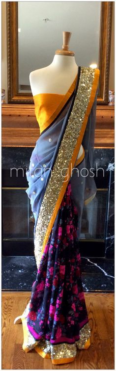 Printed Raw silk and georgette saree #saree #silk #georgette