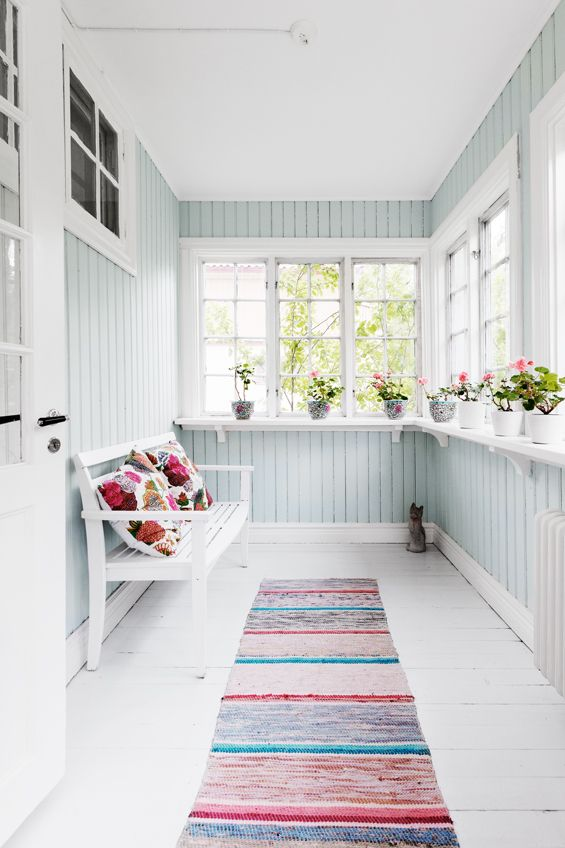 Nice space, very clean and calming. Love the runner!: Sunrooms, Window, Sun Porches, Paintings Colors, Back Porches, Porches Ideas, Enclosed Porches, Front Porches, Sun Rooms