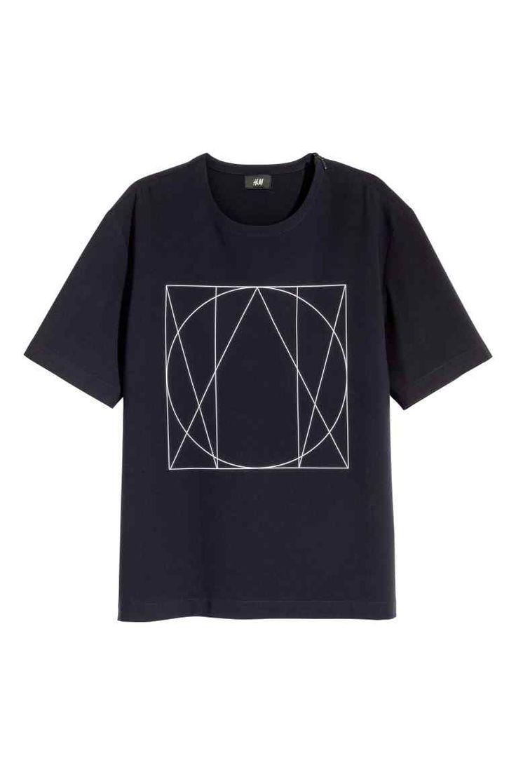T-shirt em tecido com motivo - Azul escuro - HOMEM | H&M PT