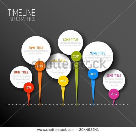 Vector dark horizontal Infographic timeline report template with icons
