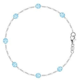 JewelryAffairs Baby Blue Synthetic Resin Bead Chain Anklet In Sterling Silver.