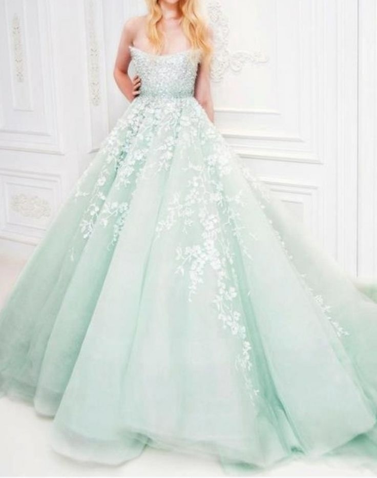 Pale green wedding dress