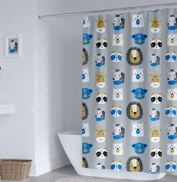 Unisex Kids Shower Curtain Boy Shower Curtain Animals Shower