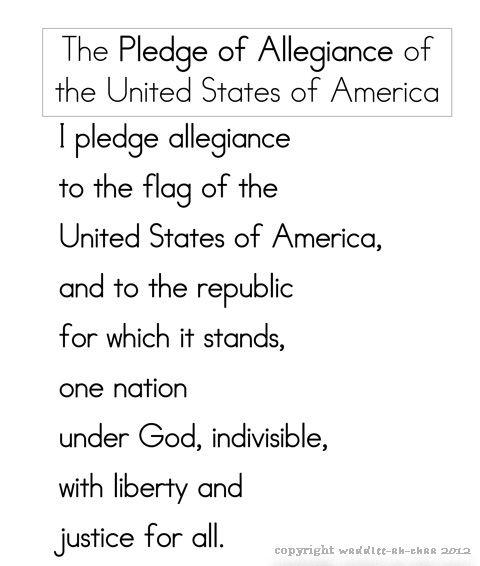 Pledge Of Allegiance Free Printable For Children 4th Of