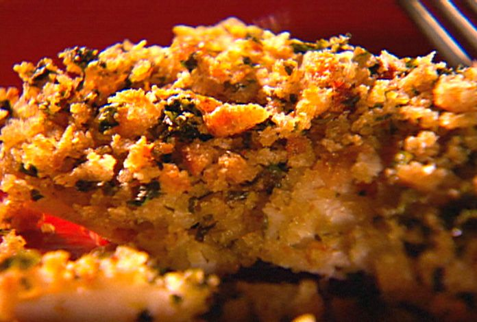 Baked Seabass with Homemade Garlic Butter and Herb Bread Crumb Topping from FoodNetwork.com