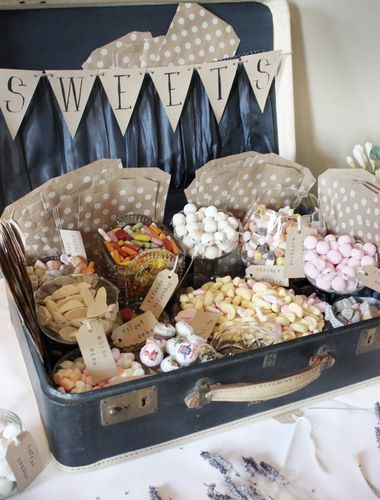 Wedding 'Sweet Suitcase' gorgeous, vintage, shabby chic decor with glassware | For more inspiration follow www.vintageweddingfair.co.uk