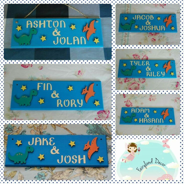 Dinosaur Name plaques available in the UK at Www.Facebook.com/fairylanddecor