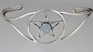Essential Sterling Silver Pentacle Bracelet Accented With Blue Lace Silver Dragon-Bracelets. $75.00