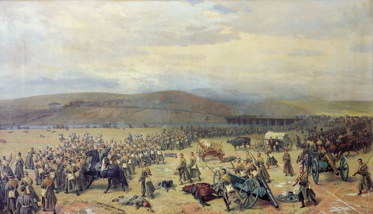 Battle of Plevna, in 1877, was a major battle of the Russo-Turkish War (1877–78), fought by the joint army of Russia and Romania against the Ottoman Empire. The Ottoman defense held up the main Russian advance southwards into Bulgaria, encouraging other great powers of the time to actively support the Ottoman cause. Eventually, superior Russian and Romanian numbers forced the garrison to capitulate.