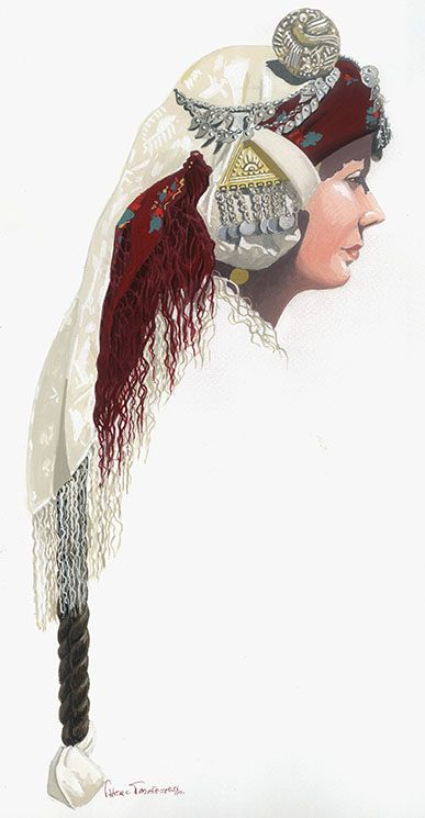 Traditional bridal headgear from Greek Thrace.  Ca. 1900.
