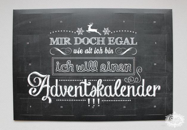 """Adventskalender - """"MIR DOCH EGAL..."""" Sprüche - ADVENTSKALENDER - ein Designerstück von cute_as_a_button bei DaWanda"""