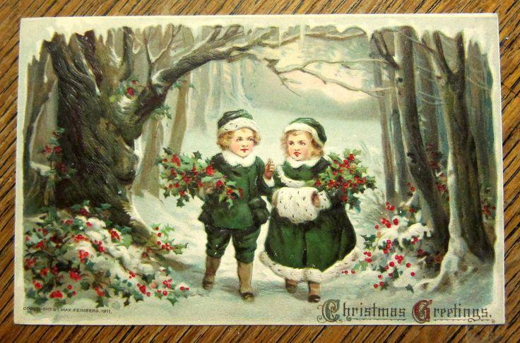 Boy Girl Holly Walking in Woods Emb Antique Vintage Christmas Postcard | eBay