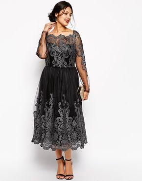 Ingrandisci Chi Chi Plus - Vestito longuette stile Bardot a maniche lunghe in pizzo metallico