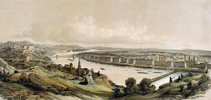 Pest and Buda from Gellért Hill, 1853 by Franz Xaver Sandmann #Budapest #Hungary