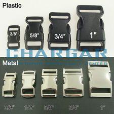 Contoured Side Release Plastic Metal Buckle for 550 Paracord Bracelet Dog Collar