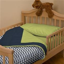 Navy and Citron Zig Zag Toddler Comforter | Carousel Designs
