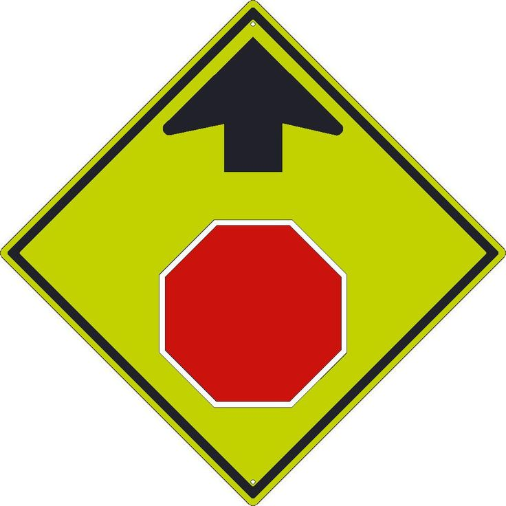 """Stop Symbol With Arrow, National Marker TM609DG, 30""""x30"""", Black On Fluorescent Yellow, 85 Percent Recycled .080"""" Diamond Grade Reflective Aluminum Pedestrian And School Traffic Sign With 2 Holes For Post Mounting - Each"""