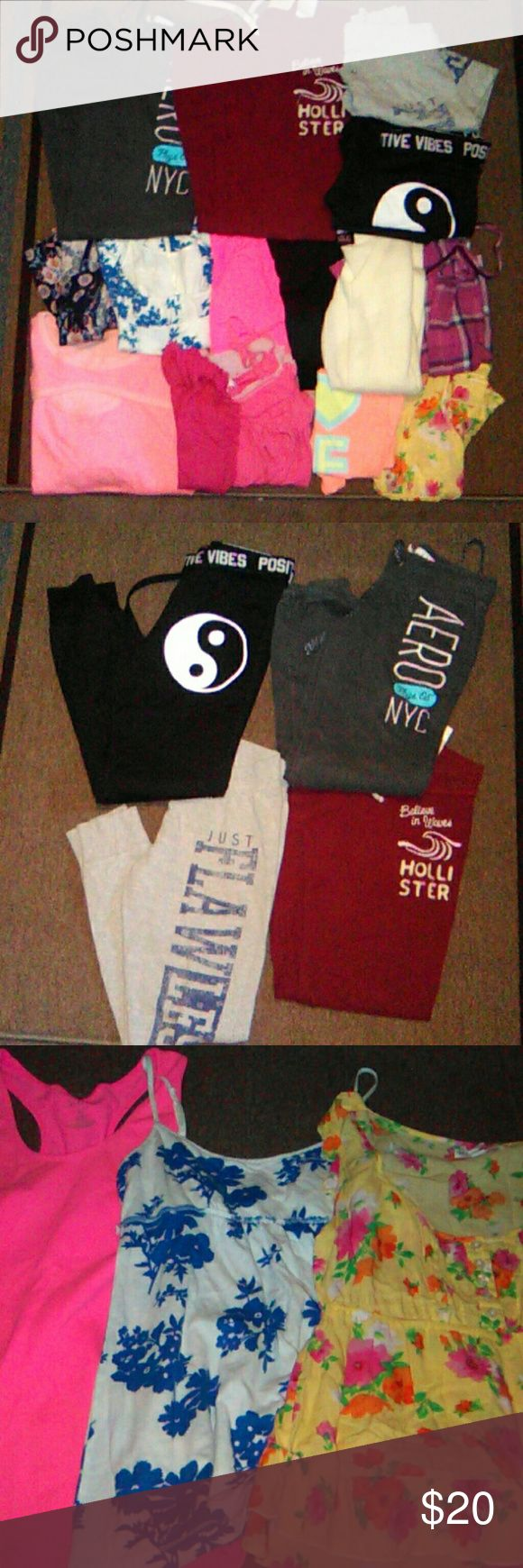 ❤ Bundle PINK Hollister Sweatpant Tops Shirt You get it all Big mixed xs-s bundle of clothing PINK by VS tank  Hollister Aero Gap mudd 2 or 3 items show use and orange tank has a spot  some new all good shape Ships quick Smoke free home PINK Victoria's Secret Tops