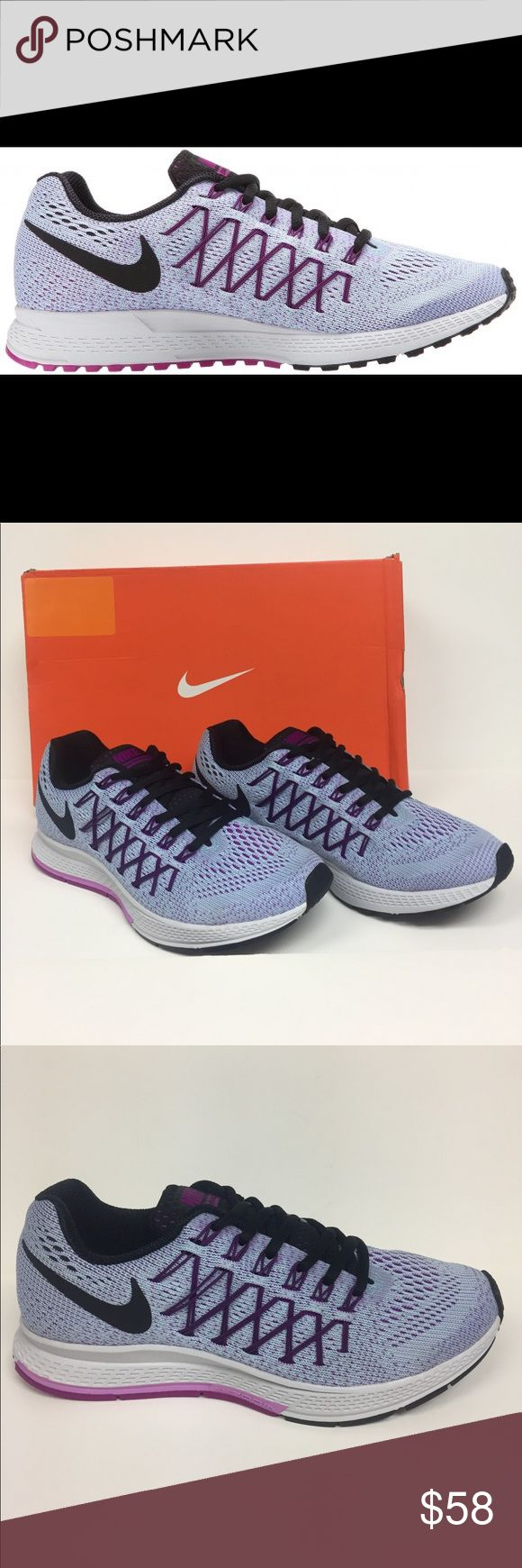Nike Air Zoom Pegasus 32 749344 405 NIB Low top Nike great looking women sneaker. Lace closure. Nike swoosh branding on side panels. Zoom air unit. Perforated midsole for breathability and comfort. Color is black, fuchsia glow. Brand-new in box. Slight discoloring on one shoe at the Toe. It is photographed. Nike Shoes Sneakers