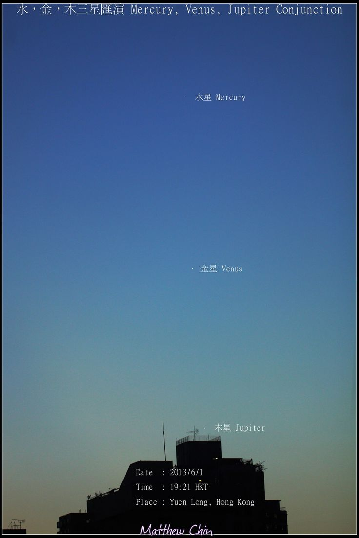 View larger. | Mercury, Venus and Jupiter seen when evening fell in Hong Kong earlier today - June 1, 2013 - by EarthSky Facebook friend Matthew Chin.  Awesome shot, Matthew!
