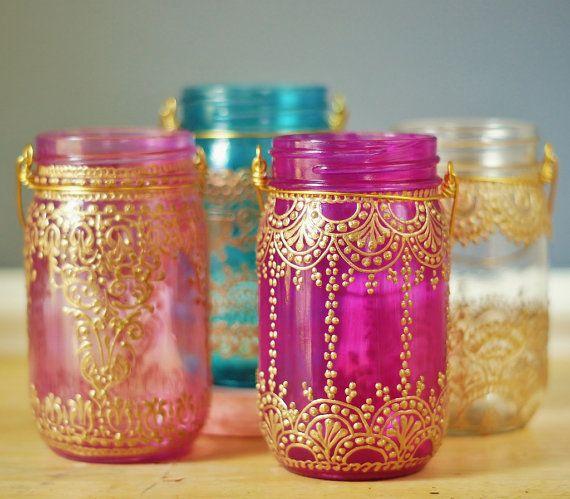 Henna Inspired Mason Jar Lantern Hot Pink Glass With by LITdecor