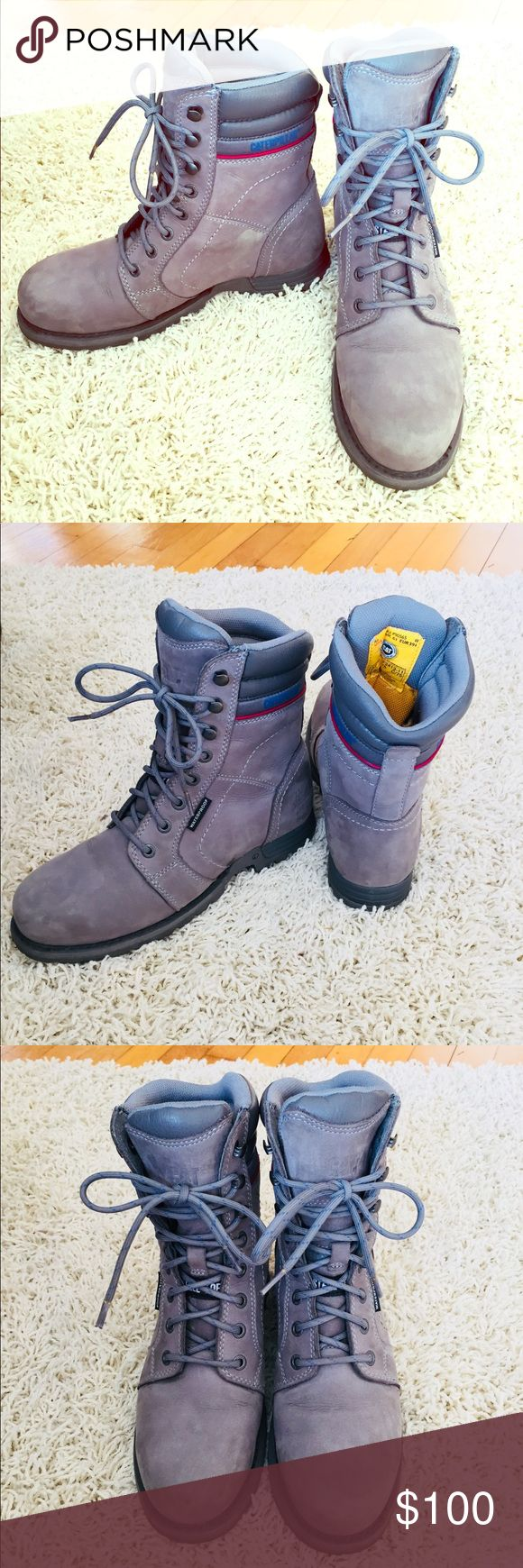 """Caterpillar ECHO steel-toe work boot (grey) Impeccable used condition! These lace up boot from Caterpillar were a gift, and only worn a handful of times. Adorable, stylish, extremely comfortable and a great, warm boot for winter. The tall silhouette provides maximum coverage in quality, protection and superior flexibility. FEATURES: Waterproof nubuck leather upper, 6"""" shaft, Padded collar, Round steel toe, Electrical hazard protection, Nylex™ sock lining, Cement + Goodyear welt construction…"""